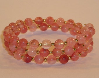 Rose Quartz and Gold Beaded Serpentine Bracelet Cuff