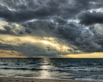 Moody Sunrise - Fine Art Landscape Photography Print. Storm clouds create a moody sunrise over the Atlantic off the South Florida coast.
