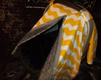 Carseat Canopy Minky Yellow Chevron Blanket Cover car seat canopy car seat cover nursing cover