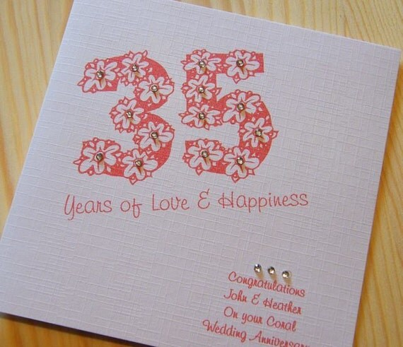 Coral Wedding Anniversary 35th Wedding Anniversary Card: Handmade Card Wedding Anniversary 35th Coral Personalised
