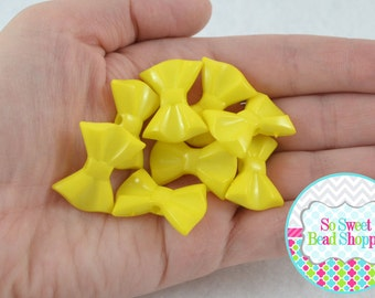 Acrylic Bow Beads, Yellow, 8 ct, 19X26mm