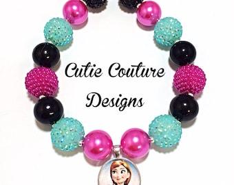 Frozen Necklace, Chunky Necklace, Disney Inspired Necklace, Rhinestone Necklace, Bubblegum Necklace, Birthday Necklace, Anna Necklace