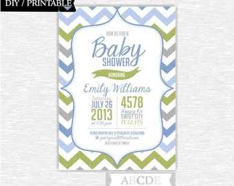 Pale Green and Blue Baby Shower Invitation Chevron DIY Printable (NO)