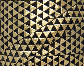 Black and Gold Metallic Triangle Print Fold Over Elastic - Elastic for Baby Headbands and Hair Ties - 5 Yards 5/8 inch Printed FOE