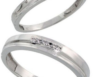 10k White Gold Diamond Wedding Rings Set for him and her