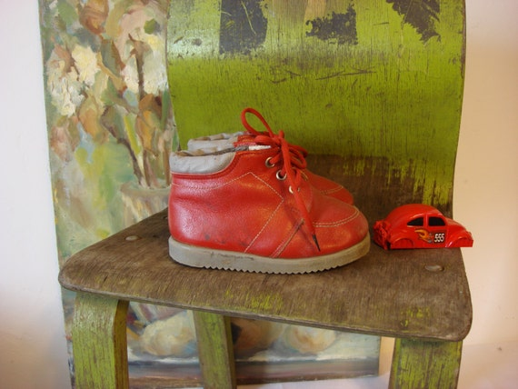Vintage Small Red Baby Boots Home Decor Doll Shoes Soviet