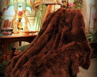 FUR ACCENTS Luxurious Faux Fur Throw  Blanket /  Brown Shag