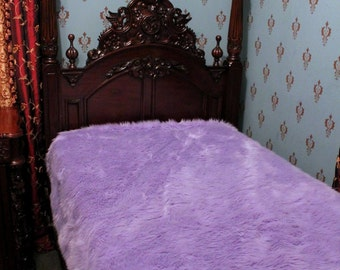 Premium Faux Fur Bedspread - Throw Blanket - Comforter = Light Orchid - Lavender - Lilac - Softest Minky Cuddle Fur Lining