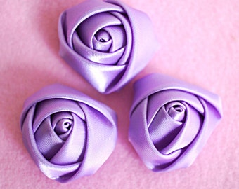 "Set of 3 Rolled Rosettes 1.5"" - Lavender - Satin Flower - Satin Rose - Small Rosettes - Satin rosettes - Rolled flowers - Wholesale - supply"