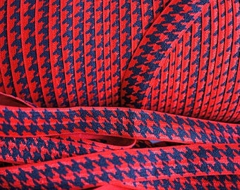 5 yards - Black & Red Houndstooth FOE - 5/8 Fold Over Elastic - Houndstooth Foldover Elastic - printed FOE- Elastic by the yard