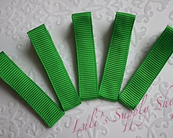 Set of 5 - Green Partially Lined Alligator Clips - Single Prom Hair Clips - Alligator Hair Clips 45mm Alligator Hair Clips - Headband Supply