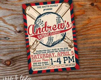 All American Baseball Birthday Digital Invitation