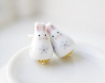 Kawaii white & pastel blue porcelain rabbit earrings,Fortune bunny,ceramic porcelain jewellery,cute gift,for rabbit lover,Easter gift