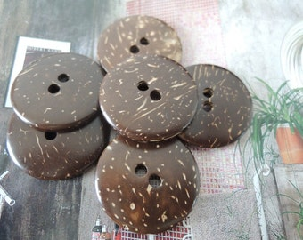 15Pcs 30mm Coconut button   Brown (W568)