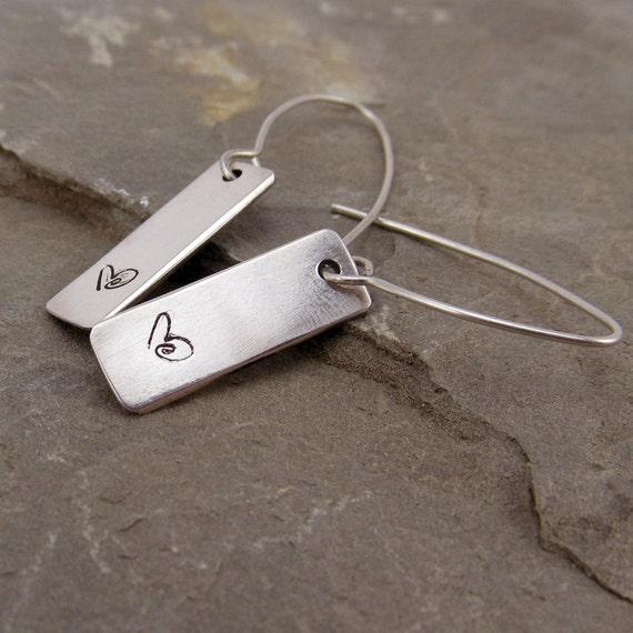 Personalised sterling silver earrings Elfen Hardd