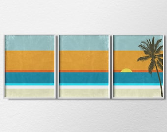 Beach Art, Beach Prints, 3 Piece Print Set, Coastal Wall Art, Home Decor, Modern Home Decor, Beach House Decor, 0013