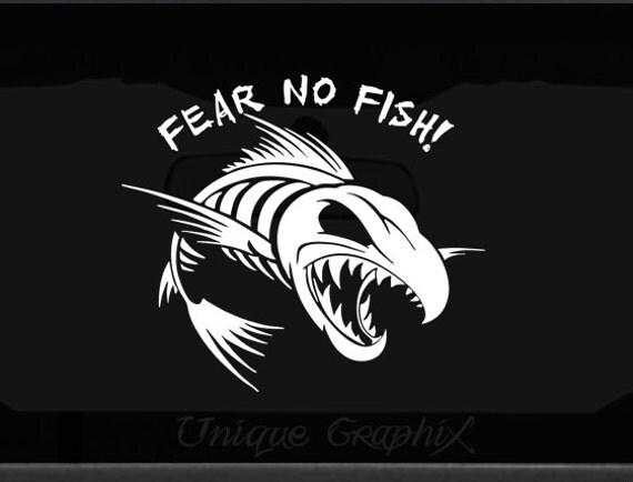 Fear no fish vinyl decal window boat sticker by uniquegraphix for Fear no fish