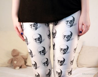 SKULL Leggings Gothic Goth Printed Leggings/ Yoga Sports pants/ Designed Leggings/ Women Stretch Leggings/ Summer Yoga Pants Tights dz133