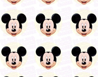 Disney Mickey Mouse Face Inspired Edible Icing Cupcake Decor Toppers