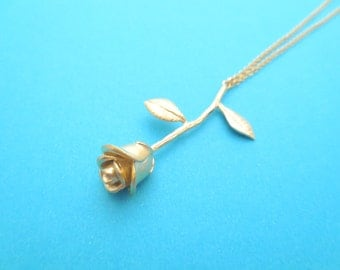 Lovely, Gold, Rose, Necklace, Modern, Flower, Necklace, Birthday, Friendship, Best friends, Sister, Mom, Gift, Jewelry