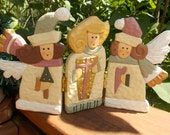 Tri-Fold Wood Angels - Christmas Decoration