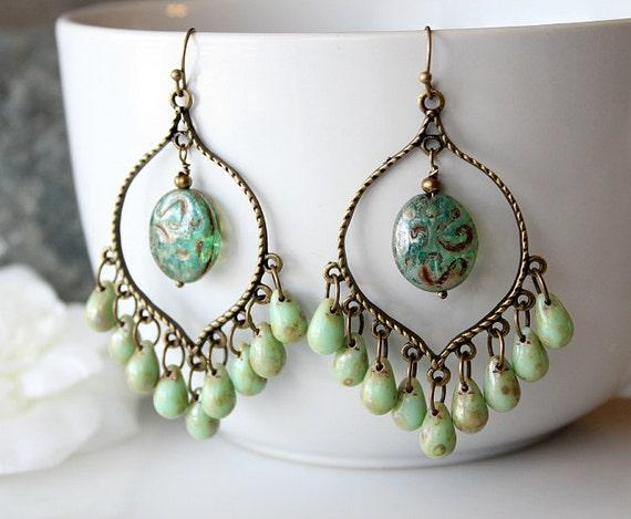 Green Czech Glass Chandelier Earrings Green Bohemian Hoops