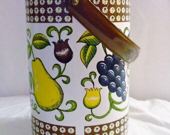 Vintage Georges Briard Ice Bucket Fruit Floral Themed Vinyl Clad Large