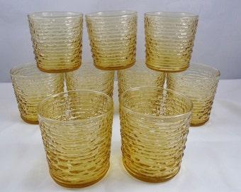 Vintage Anchor Hocking Glasses Old Fashioned Soreno Honey Gold Set Of 9 Free Shipping USA