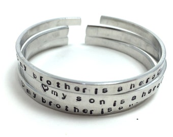 Silver Bracelet - My Brother, Sister, Mom, Dad, Husband, Wife is a Hero