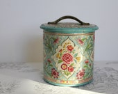 RESERVED for Meghan - Vintage Dutch Tin, collectable tin container, embossed floral pink and turquoise, made in Holland, lid with handle