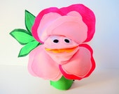 Pink Rose Hand Puppet Kids Birthday Gift Toy Eco Friendly Valentine Felt Roses Flower Tree Topper Holiday Toy Cloth Flower Anniversary