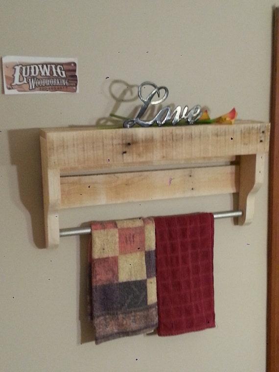 Porte serviette bois petite palette rustique