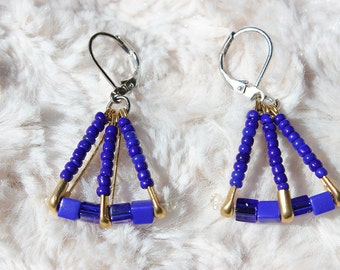 Royal Blue and Gold Safety Pin Earrings