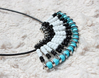 Turquoise and Black Fan Safety Pin Necklace