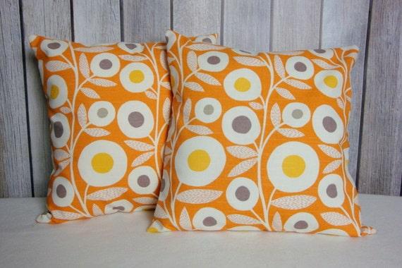 Throw Pillow. Modern Pillow. Accent Pillow. Pillow. Pillow Cover. Orange Pillow. Floral Pillow