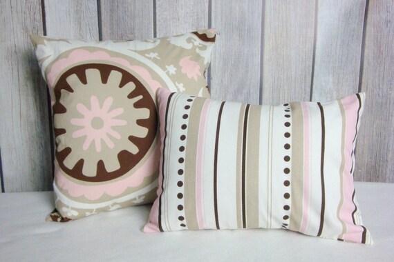 Pink and Beige Pillow. Throw Pillow. Nursery Pillow. Pink Pillows. Beige Pillows. Accent Pillows.