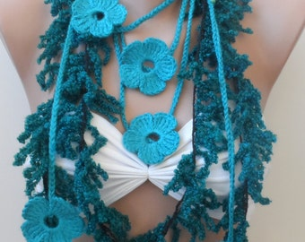 Crazy scarf, Teal scarf,  fiber necklace scarf, Crochet scarf, necklace scarf. Lariats. Teal crochet scarf, fiber, Summer scarf, rose scarf