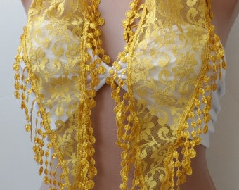 Gold guipure scarf, summer lace scarf.Super elegant women scarfs, yellow scarf, LACE scarf, Trendy, fringe,fashion, Scarfs, Bridesmaid gifts
