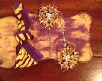 LSU Bobby Pins Purple & Gold Vintage Style