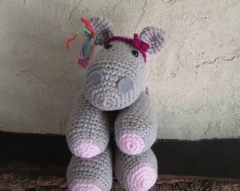 super cute cuddly crochet hippo toy
