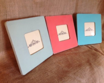 Set of Three Distressed Wood Picture Frames- Beach Frames-Summer Frames-Customized Frames