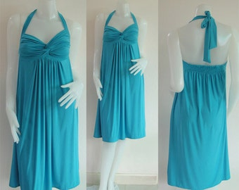 Blue Halter knee length short dress all size