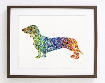 Dachshund Watercolor Painting - 8x10 Archival Dog Print, Dachshund Painting - Geometric Art - Home Living Decor Housewares Wall Decor Art
