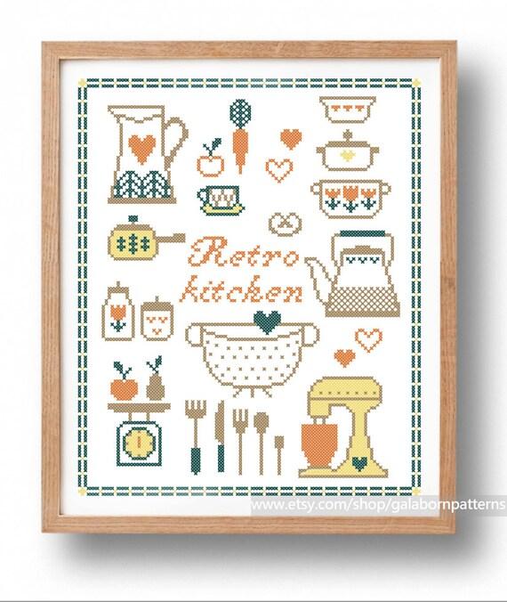 Retro kitchen big pdf counted cross stitch pattern vintage for Cross stitch kitchen designs