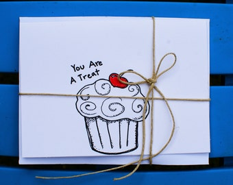 Greeting cards, Handmade Cards, hand drawn cards,just because, i love you, thank you card,blank cards,every occation,cupcake