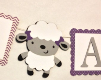 I Am One Banner, Party Decorations, Little Lamb Theme Birthday Party, High Chair Banner, Sheep, Ewe