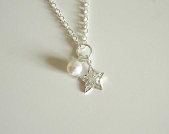 Twinkle Necklace, Sterling Silver, Swarovski Pearl