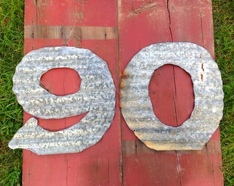 """12"""" Tin letters made from Repurposed Barn Tin"""