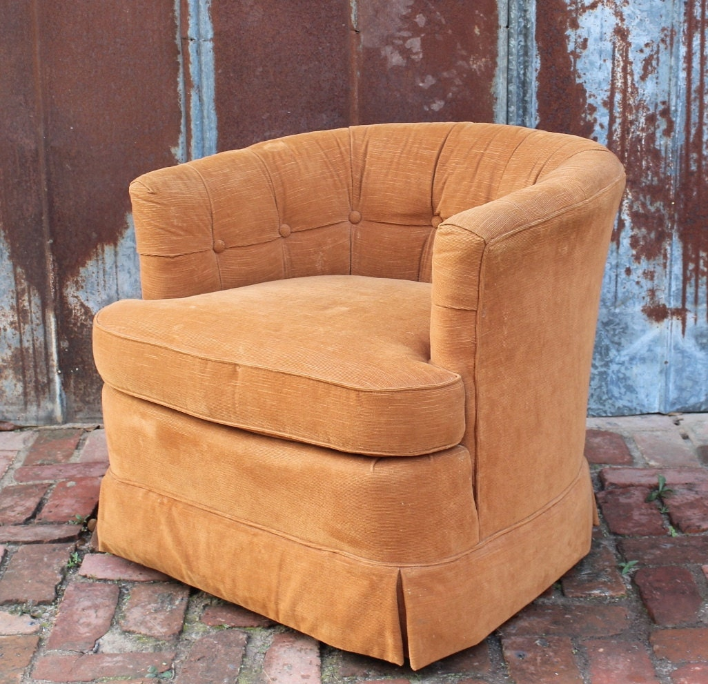 Vintage Hollywood Regency Tufted Barrel Arm Chair By Drexel