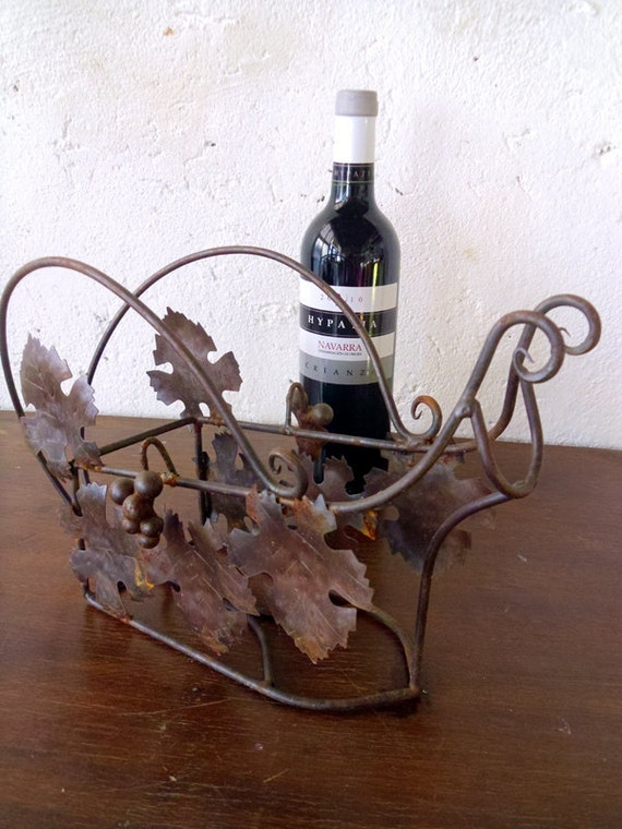 Wire bottle carrier wine bottle holder vintage french bottle - Wire wine bottle carrier ...